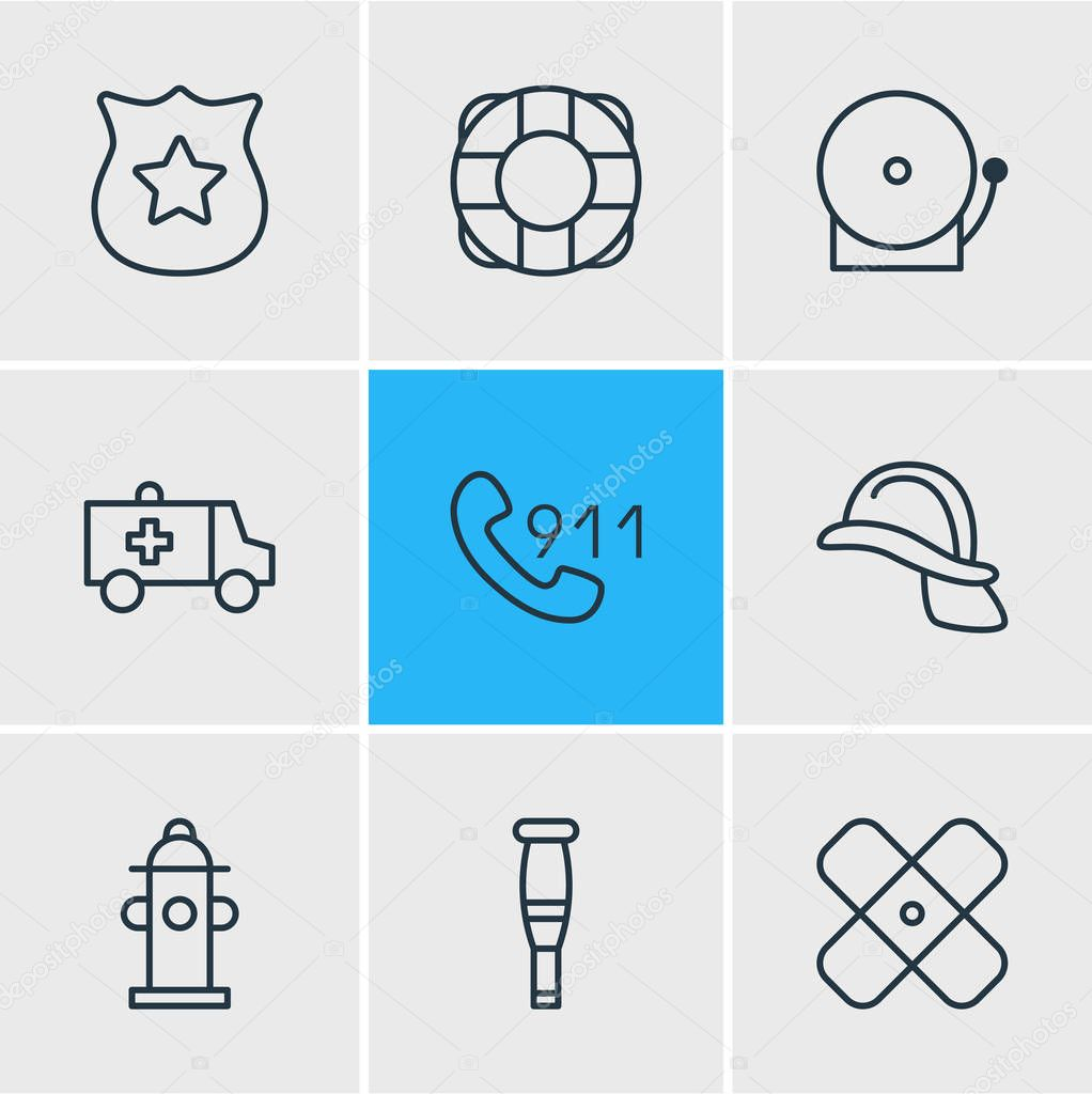 illustration of 9 extra icons line style. Editable set of police, plaster, lifebuoy and other icon elements.