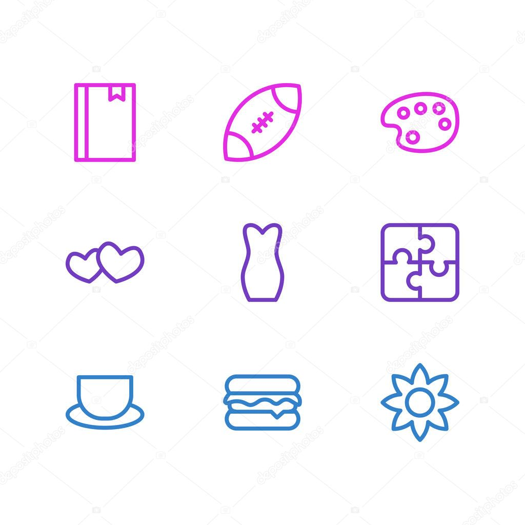 Vector illustration of 9 hobby icons line style. Editable set of rugby, burger, heart and other icon elements.