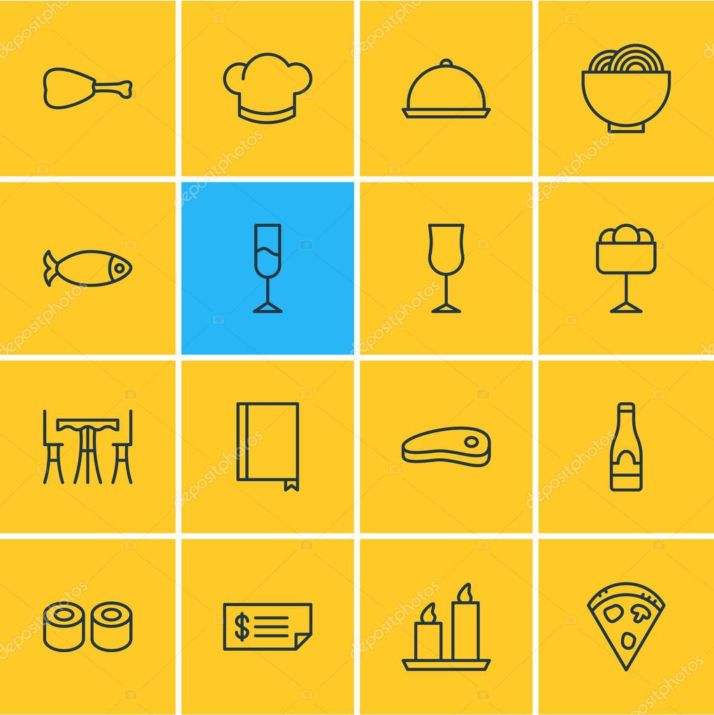Vector illustration of 16 eating icons line style. Editable set of noodles, chicken, menu and other icon elements.