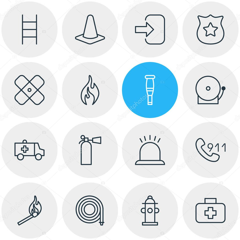 illustration of 16 necessity icons line style. Editable set of ladder, cone, siren and other icon elements.