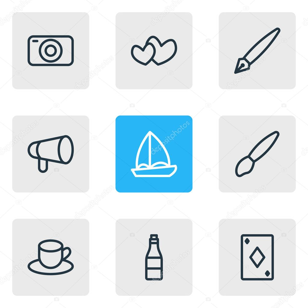 illustration of 9 leisure icons line style. Editable set of pen, camera, bullhorn and other icon elements.