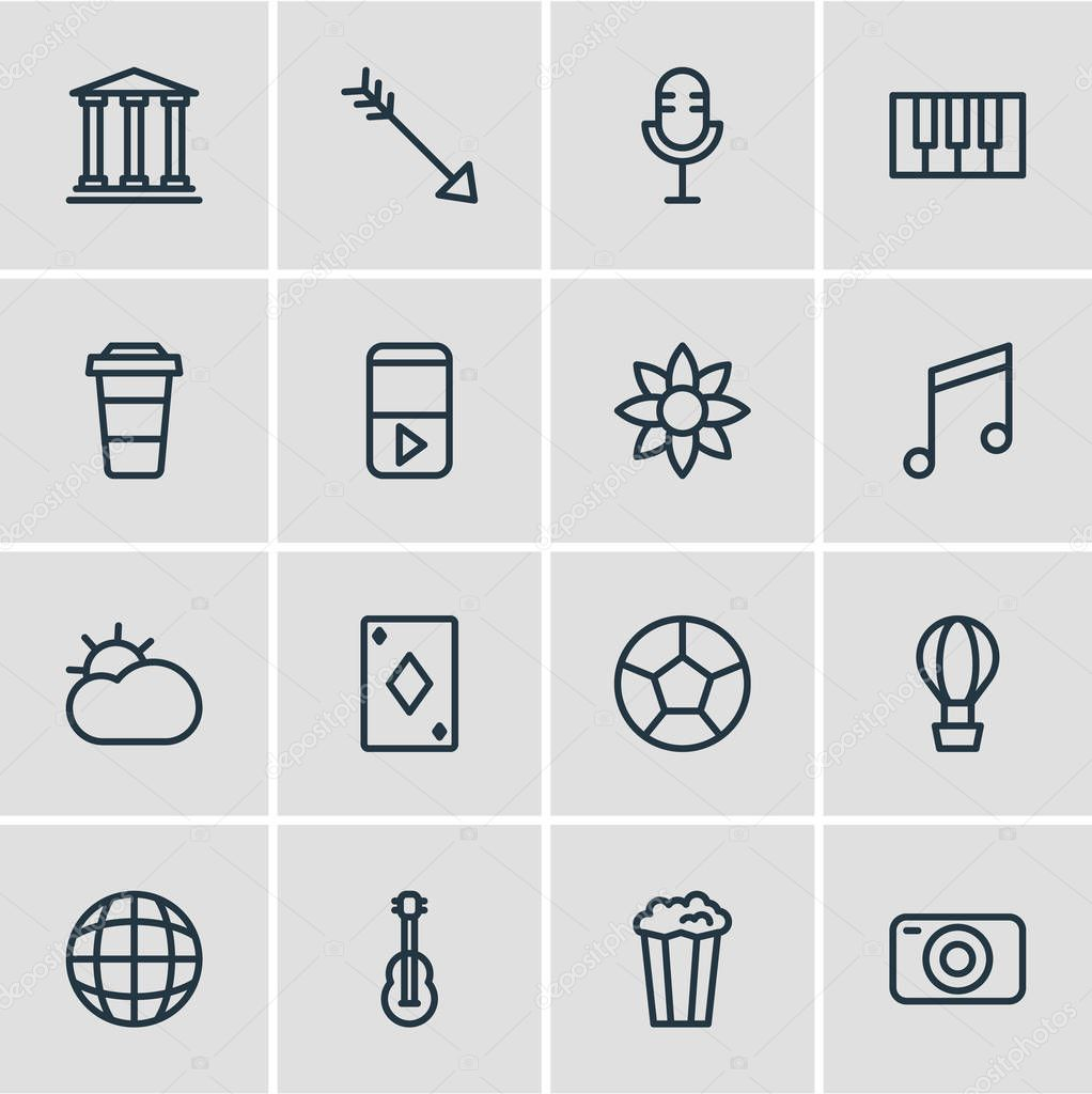 Vector illustration of 16 leisure icons line style. Editable set of globe, guitar, piano and other icon elements.