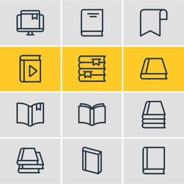 Vector illustration of 12 education icons line style. Editable set of bookshelf, book collection, knowledge and other icon elements.