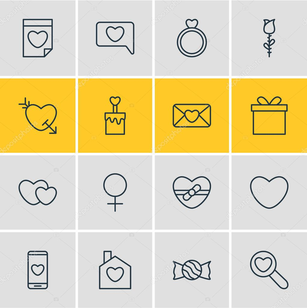 Vector illustration of 16 passion icons line style. Editable set of love, soul, flower and other icon elements.