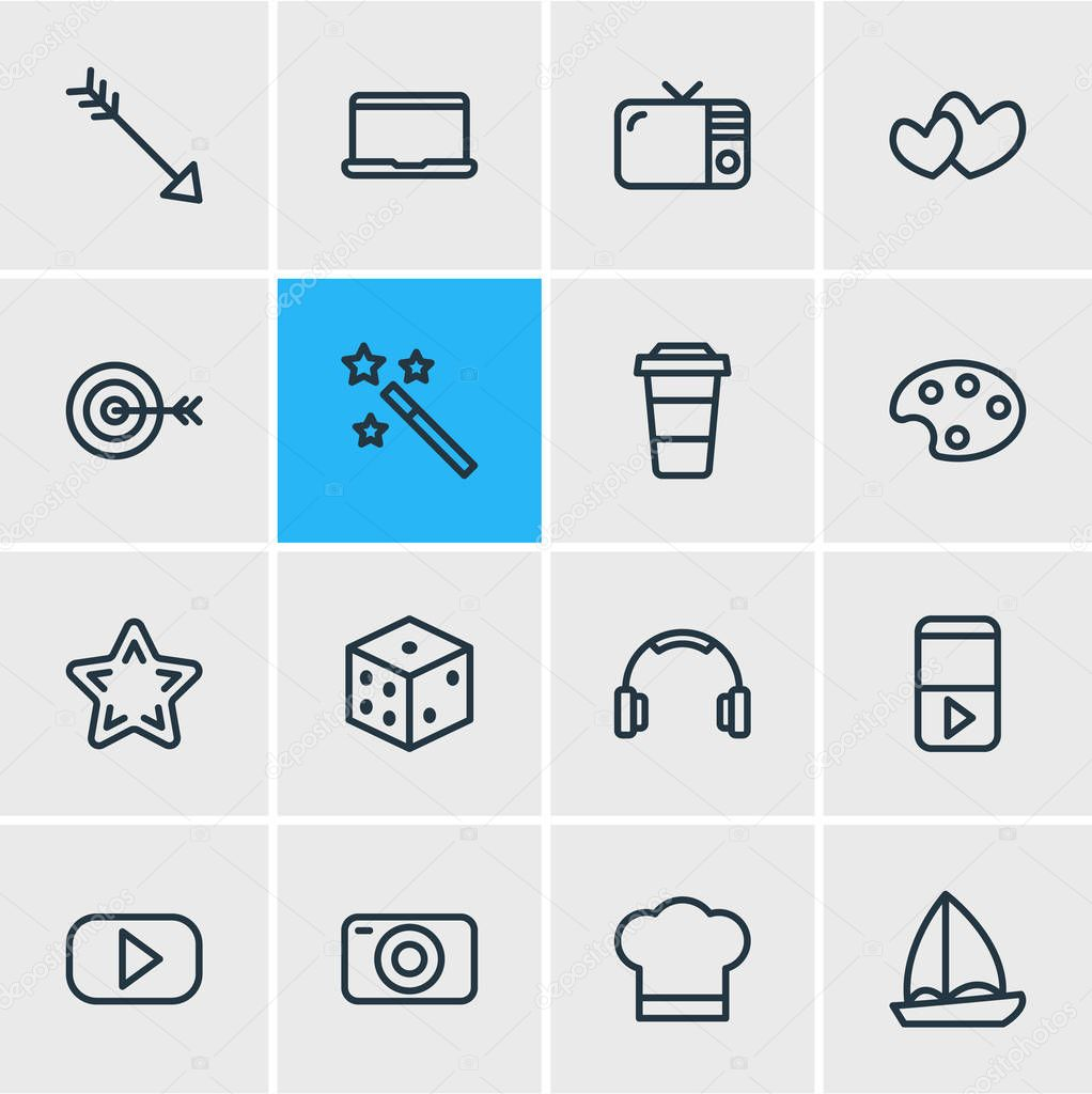 illustration of 16 leisure icons line style. Editable set of arrow, cook hat, laptop and other icon elements.