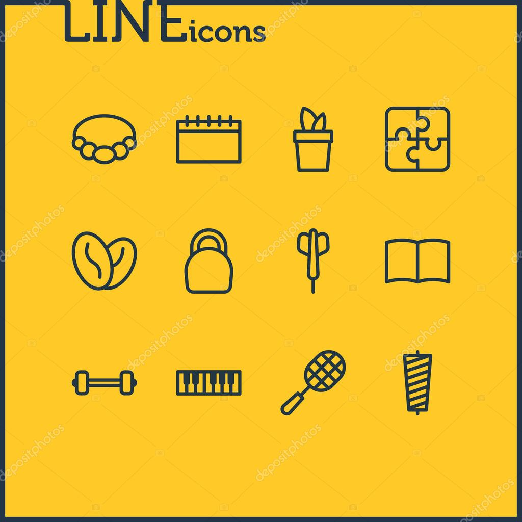 Vector illustration of 12 entertainment icons line style. Editable set of sewing, fitness, rocket and other icon elements.