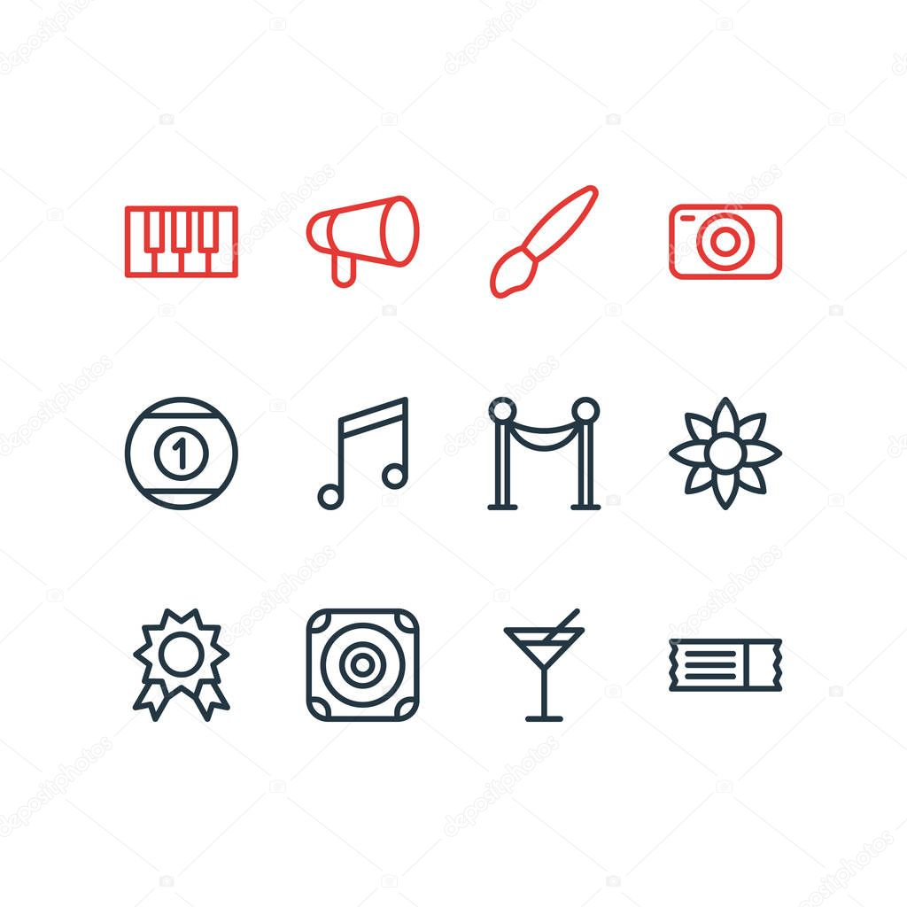 Vector illustration of 12 joy icons line style. Editable set of music note, piano, loudspeaker and other icon elements.
