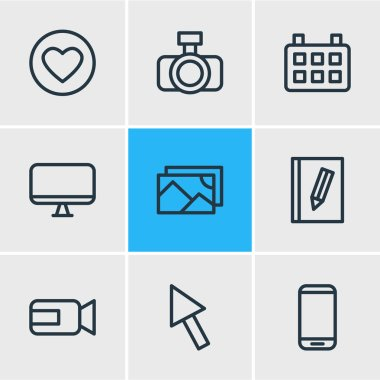 Vector illustration of 9 media icons line style. Editable set of arrow, image, monitor and other icon elements.