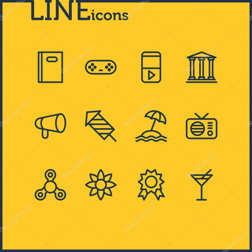 Vector illustration of 12 entertainment icons line style. Editable set of book, cocktail, flower and other icon elements.