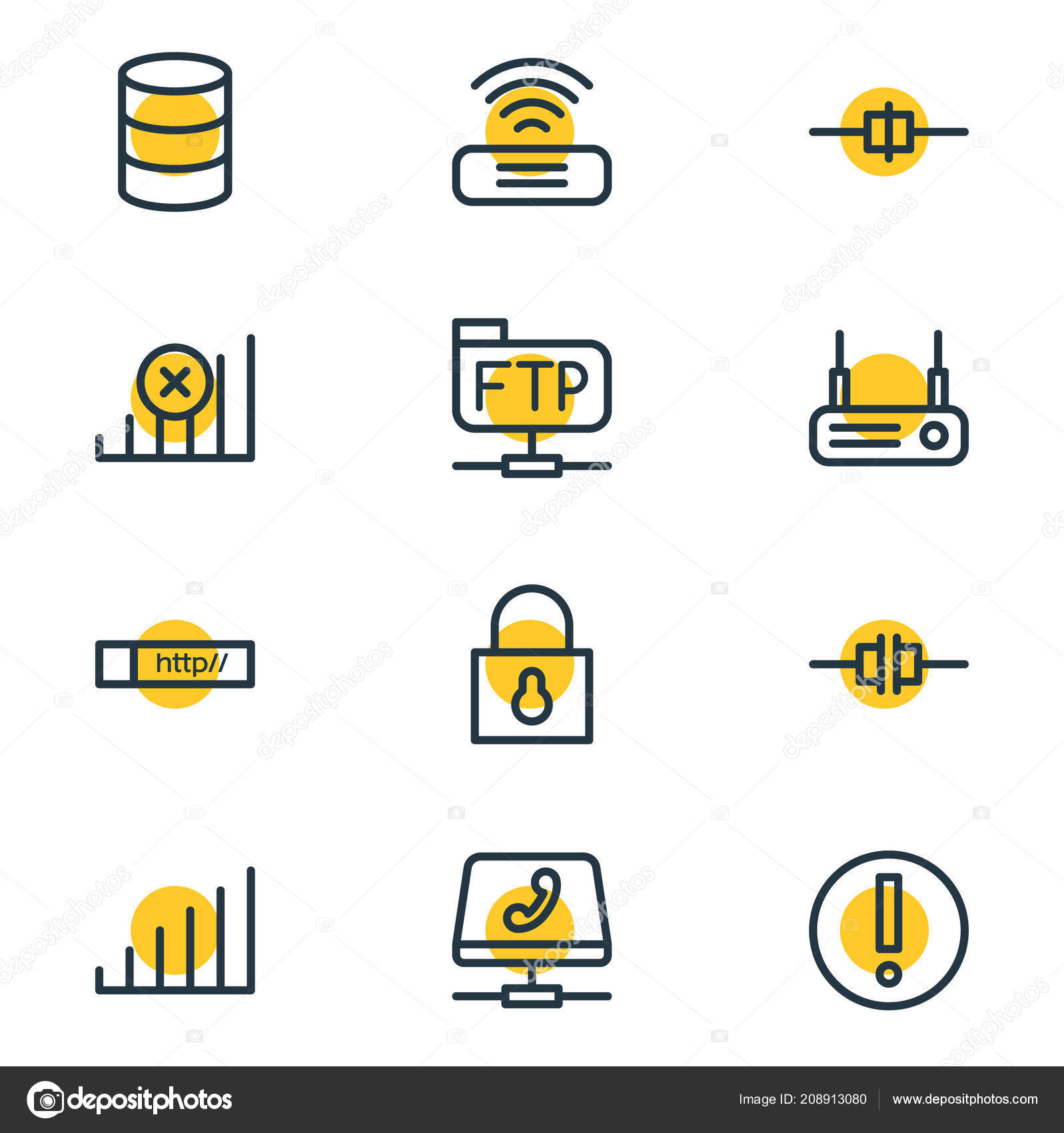 Illustration of 12 internet icons line style  Editable set