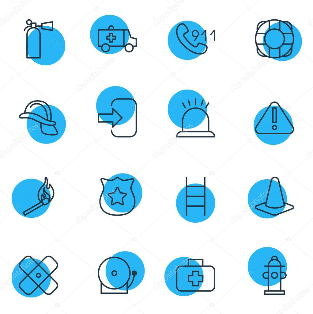 illustration of 16 necessity icons line style. Editable set of alarm, cone, attention and other icon elements.