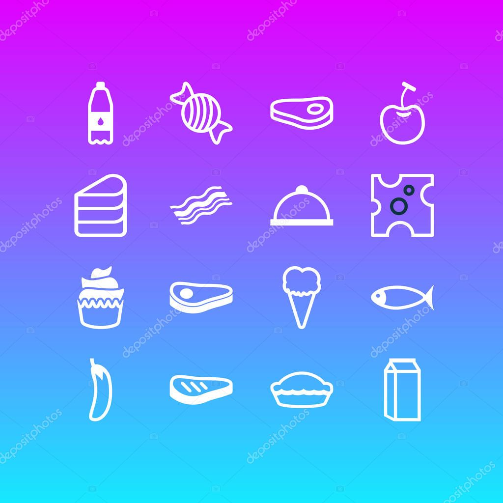 illustration of 16 meal icons line style. Editable set of dairy, ice cream, pastry and other icon elements.