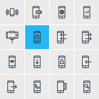 Vector illustration of 16 telephone icons line style. Editable set of globe, credit card, arrow down and other icon elements.