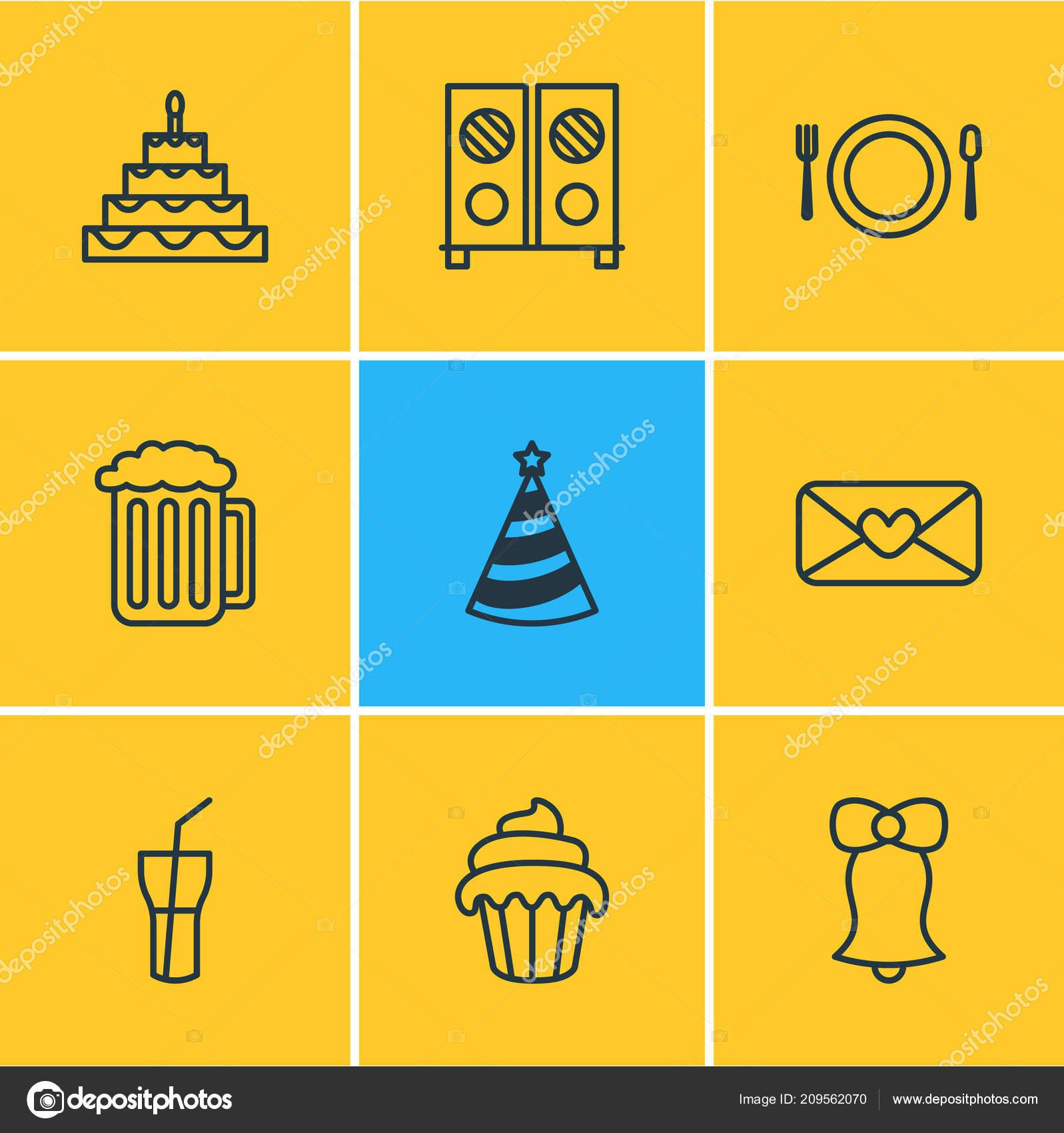 Vector illustration of 9 banquet icons line style. Editable set of soda 8b8860edda52