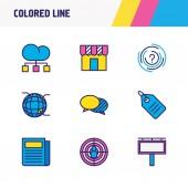 Obrázek 9 marketingové ikony barevné linie. Upravitelné sada globe, noviny, struktura a dalších ikon prvků.