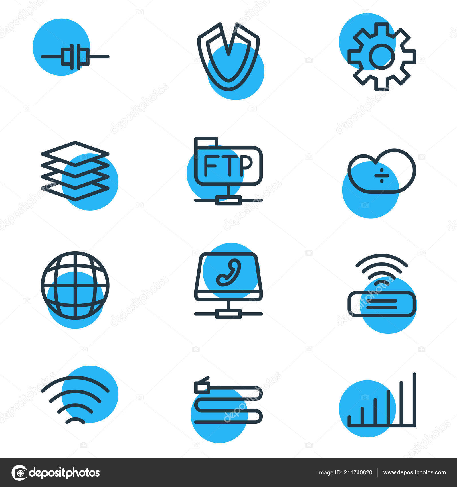 Vector illustration of 12 network icons line style  Editable