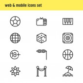 Fotografie Vector illustration of 12 joy icons line style. Editable set of flower, beach, dice and other icon elements.