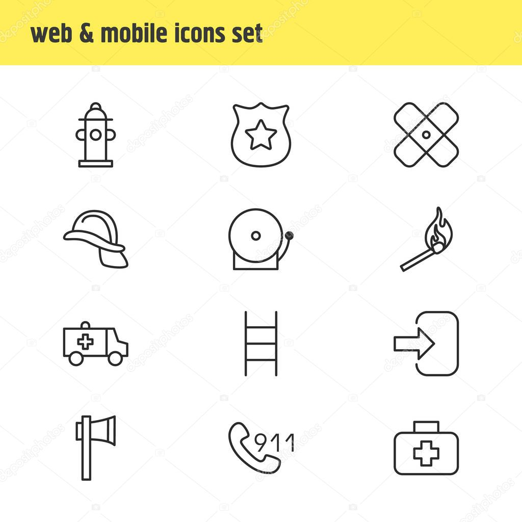 Vector illustration of 12 necessity icons line style. Editable set of first aid box, ambulance, ladder and other icon elements.