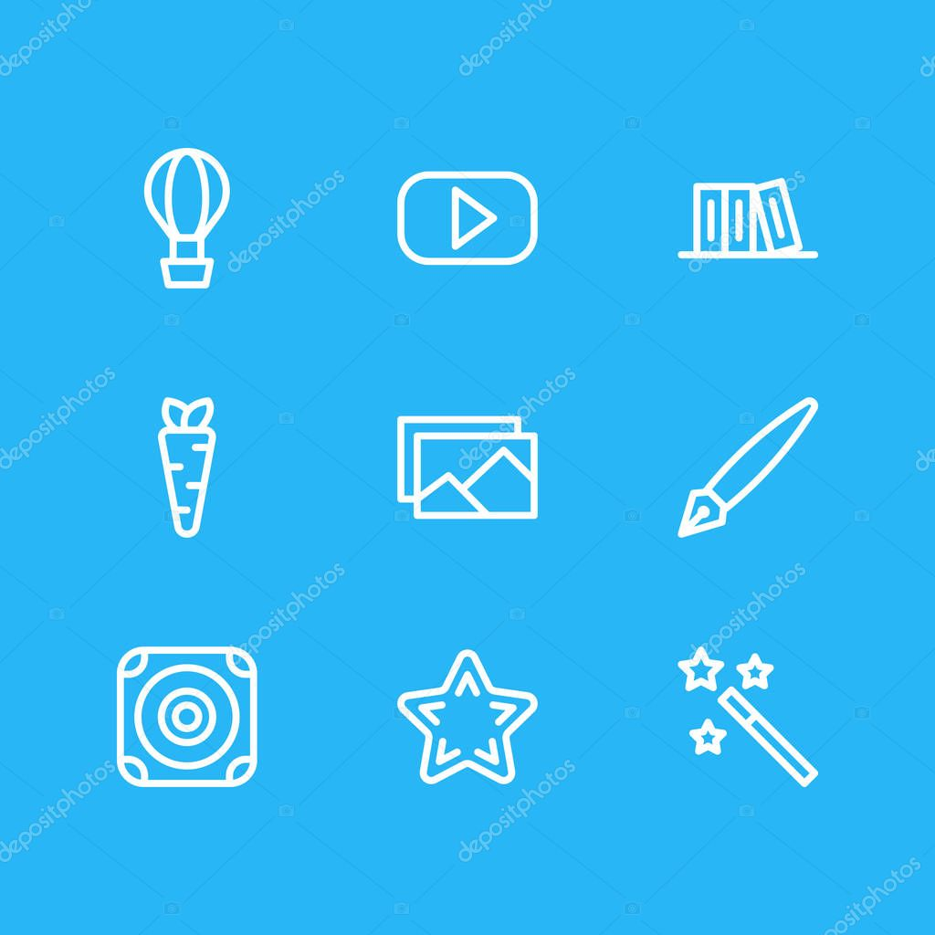 Vector illustration of 9 joy icons line style. Editable set of video, carrot, library and other icon elements.