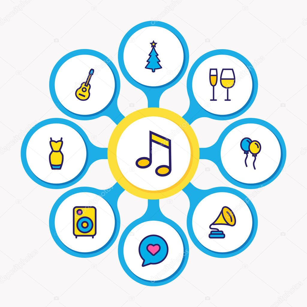 Vector illustration of 9 celebration icons colored line. Editable set of music note, balloons, guitar and other icon elements.