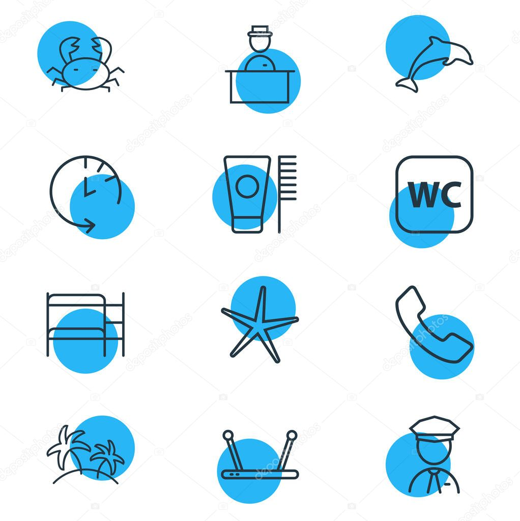 illustration of 12 hotel icons line style. Editable set of dolphin, security guard, toothbrush and other icon elements.