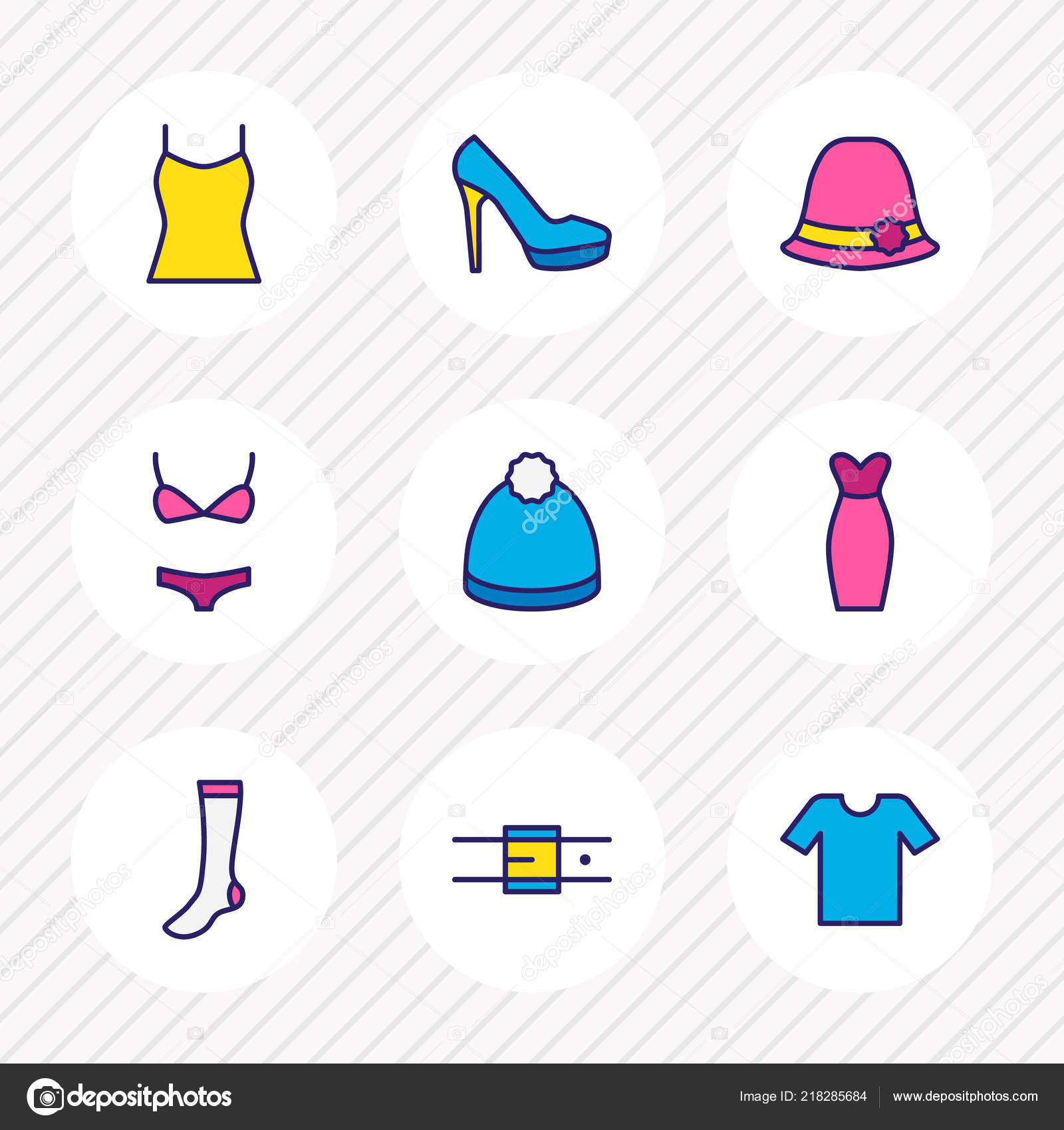 bb03238354 Vector illustration of 9 clothes icons colored line. Editable set of  t-shirt