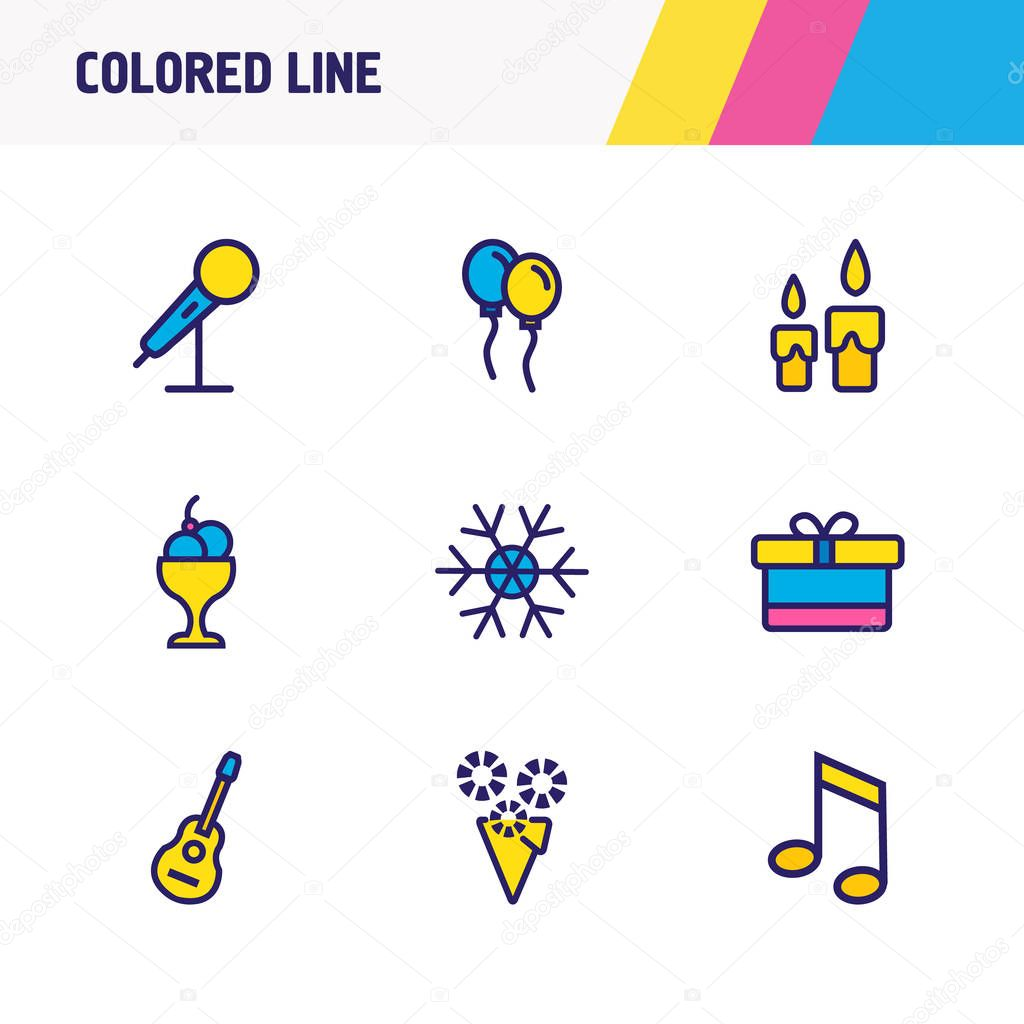 Vector illustration of 9 event icons colored line. Editable set of balloons, snowflake, candles icon elements.