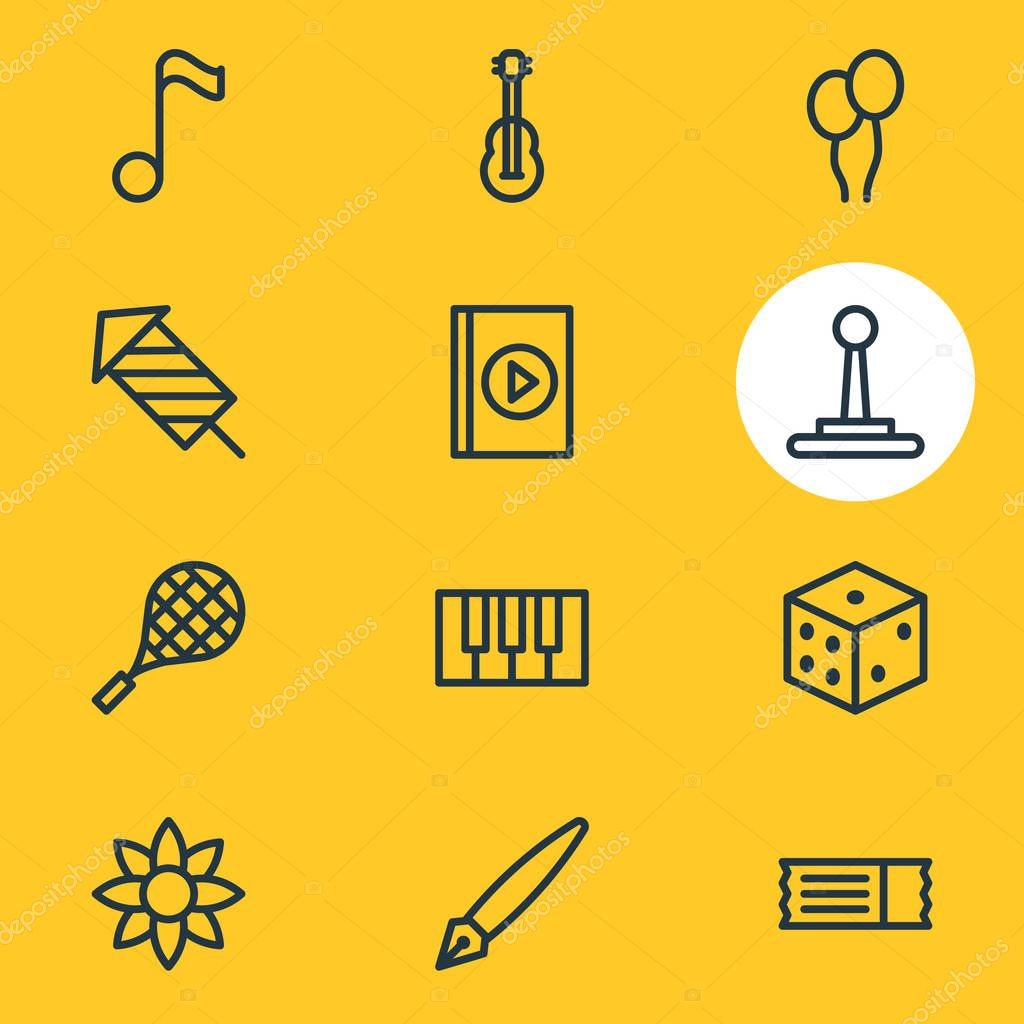 Vector illustration of 12 leisure icons line style. Editable set of pen, firework, audio book and other icon elements.