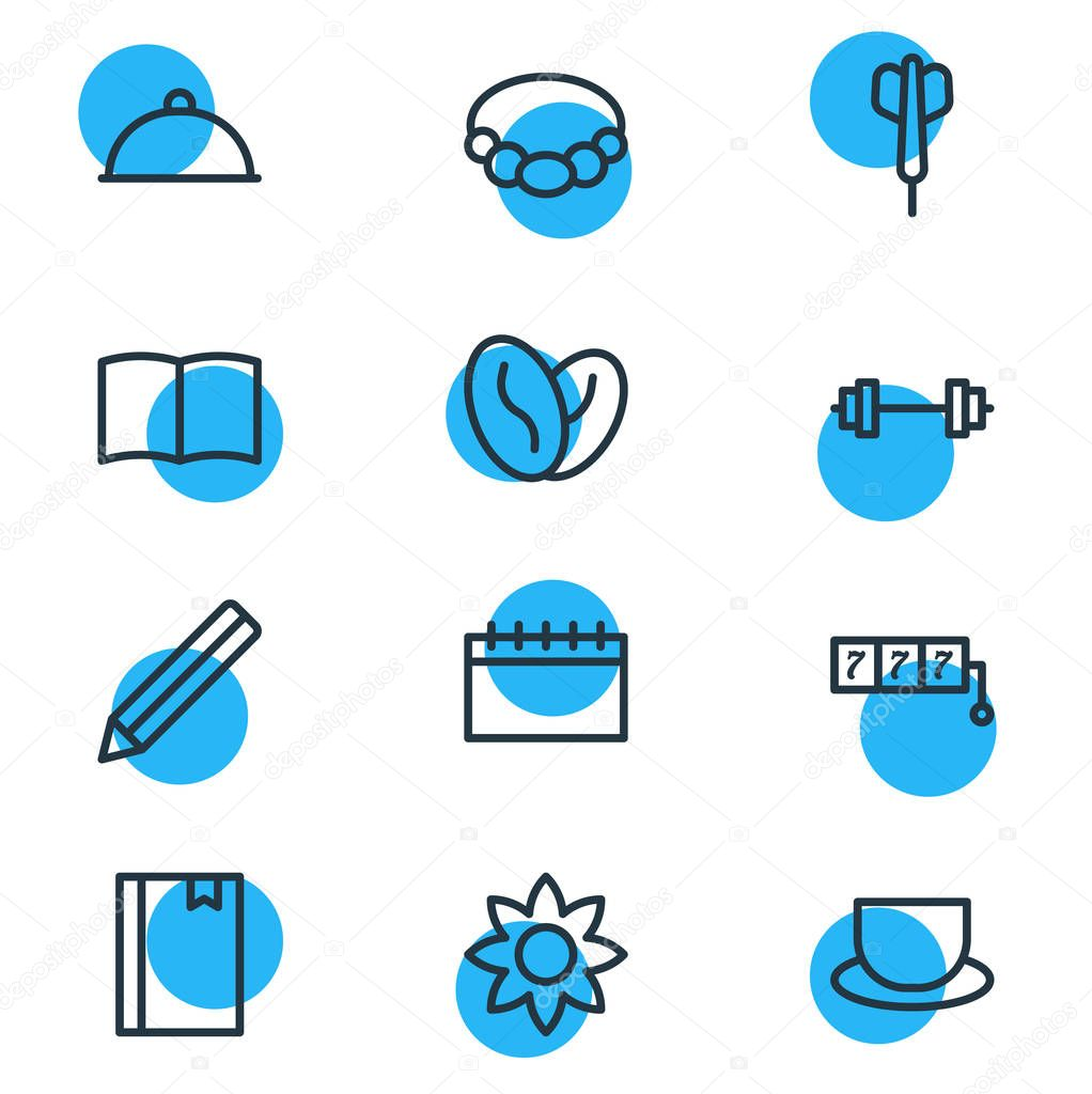 illustration of 12 hobby icons line style. Editable set of tea, accessory, barbell and other icon elements.