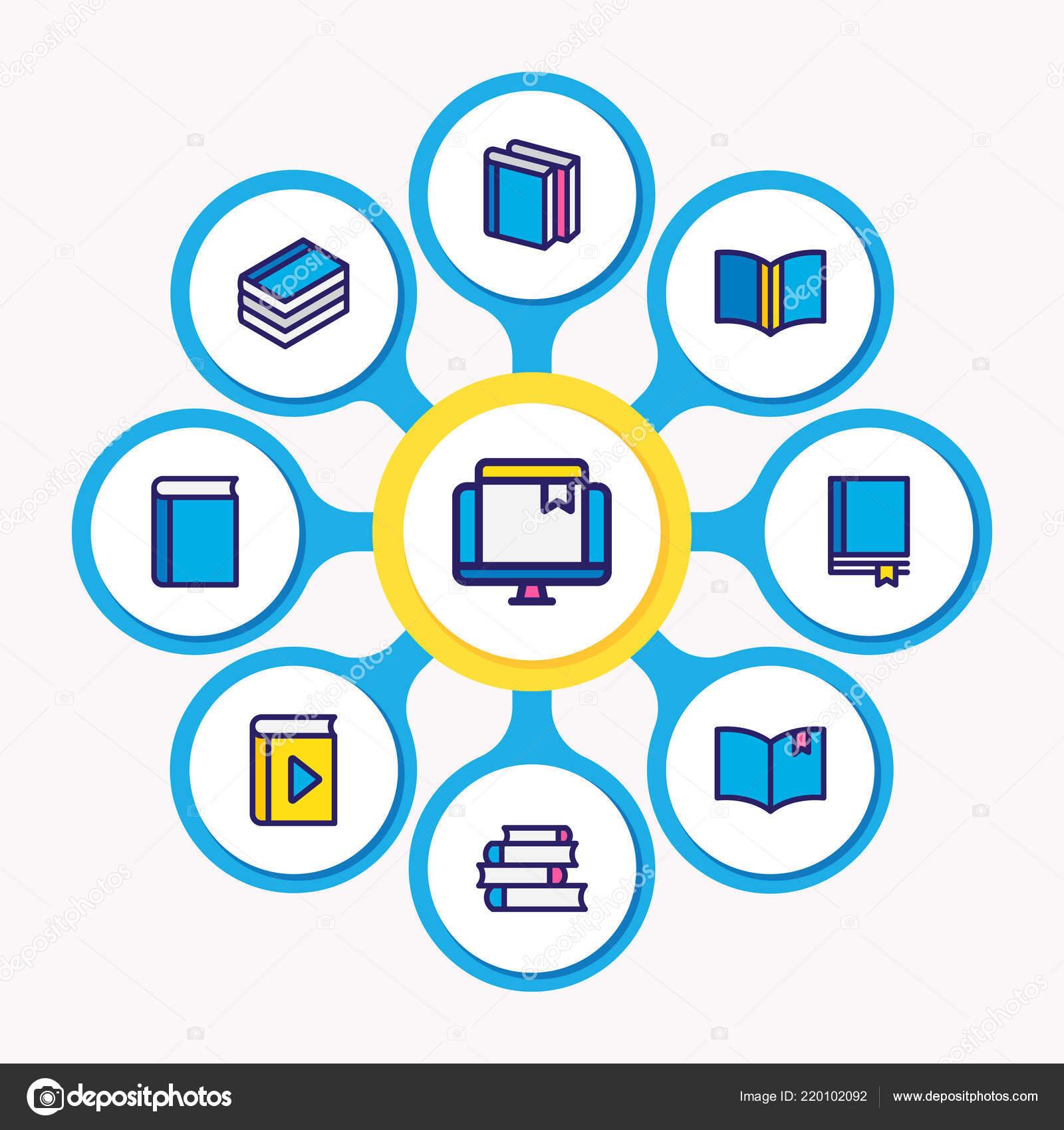 Illustration Vectorielle De 9 Icones De Lecture Livre