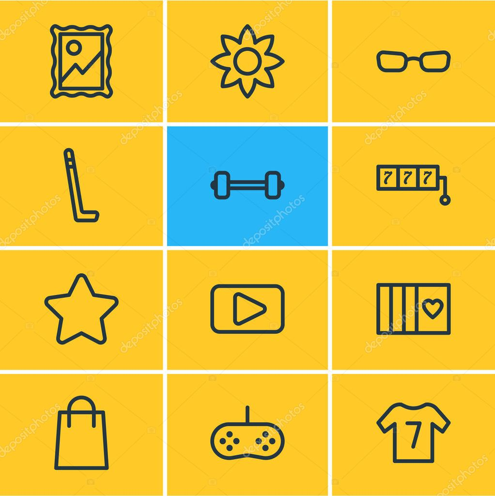 illustration of 12 hobby icons line style. Editable set of card, movie, shopping and other icon elements.