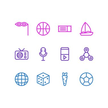 illustration of 12 leisure icons line style. Editable set of globe, dice, carrot and other icon elements.