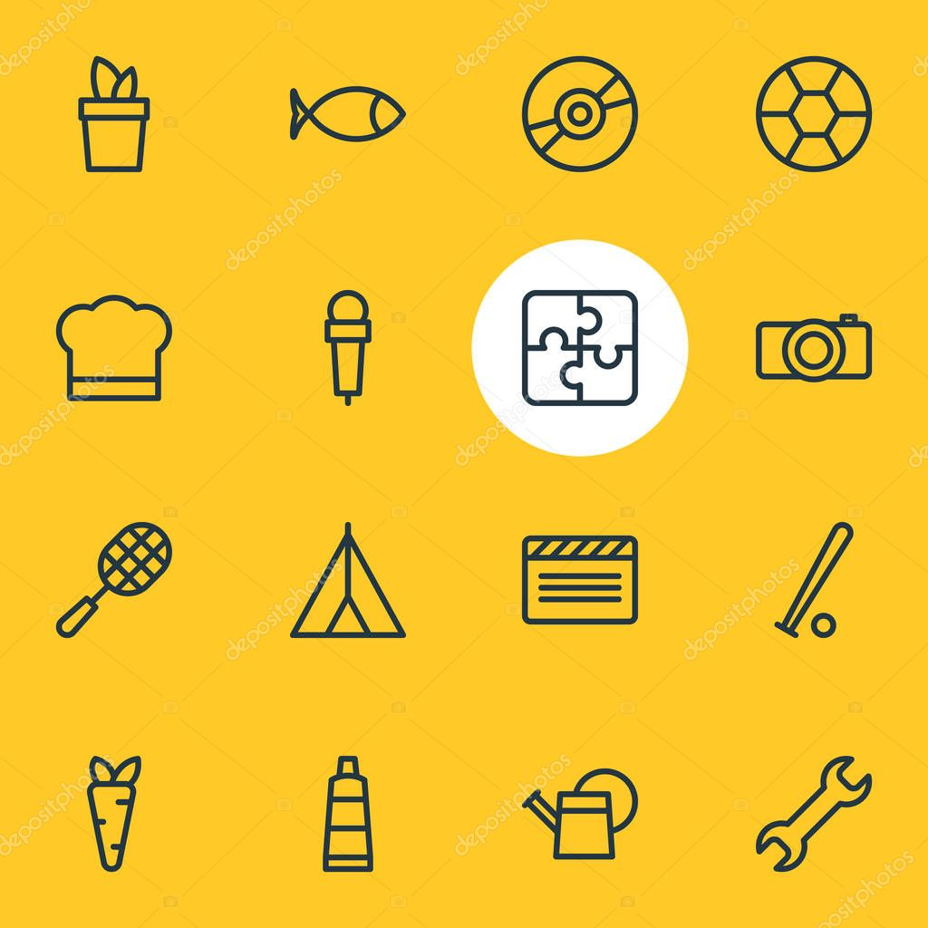 illustration of 16 hobby icons line style. Editable set of mic, cooking, tent and other icon elements.