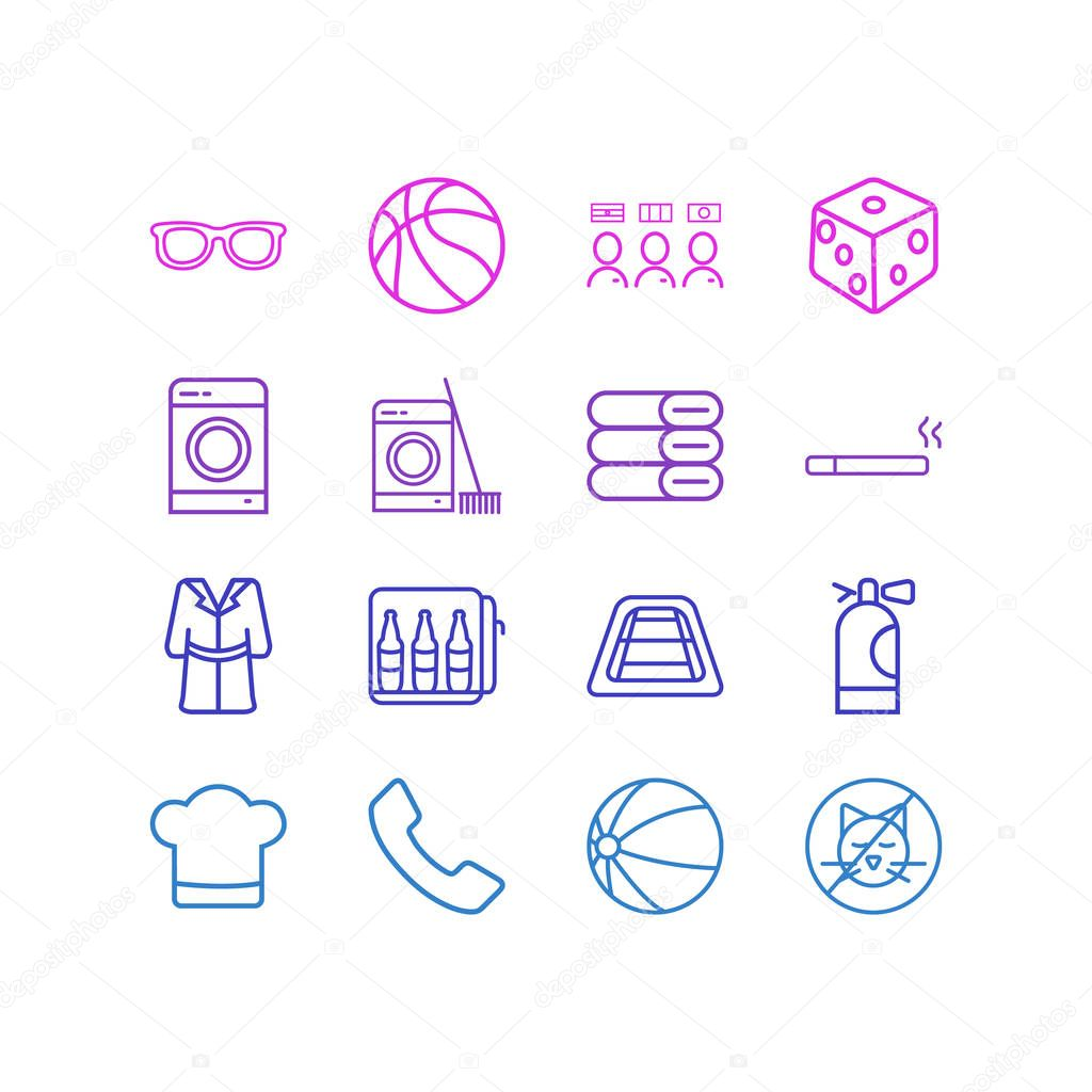 illustration of 16 travel icons line style. Editable set of beach ball, laundry, smoking and other icon elements.