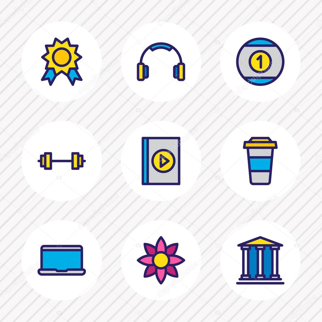 Vector illustration of 9 joy icons colored line. Editable set of flower, barbell, theater and other icon elements.