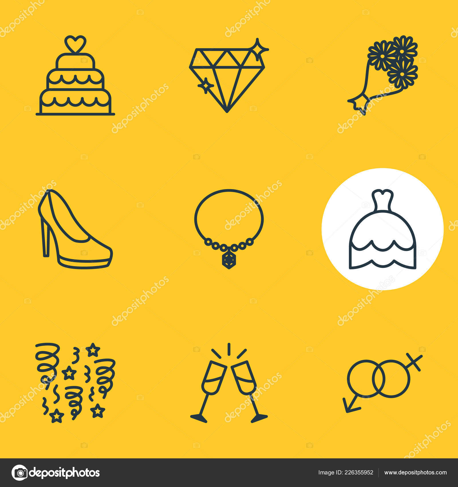 1cd8630523 Vector illustration of 9 marriage icons line style. Editable set of  necklace