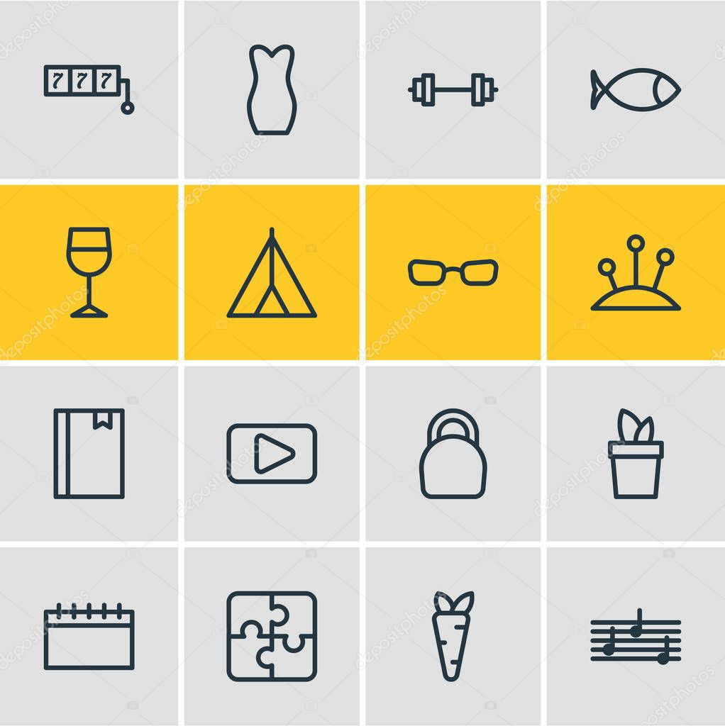 illustration of 16 hobby icons line style. Editable set of calendar, evening dress, wineglass and other icon elements.