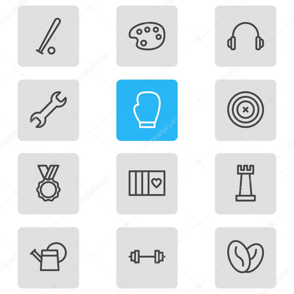 illustration of 12 lifestyle icons line style. Editable set of baseball, barbell, headphone and other icon elements.