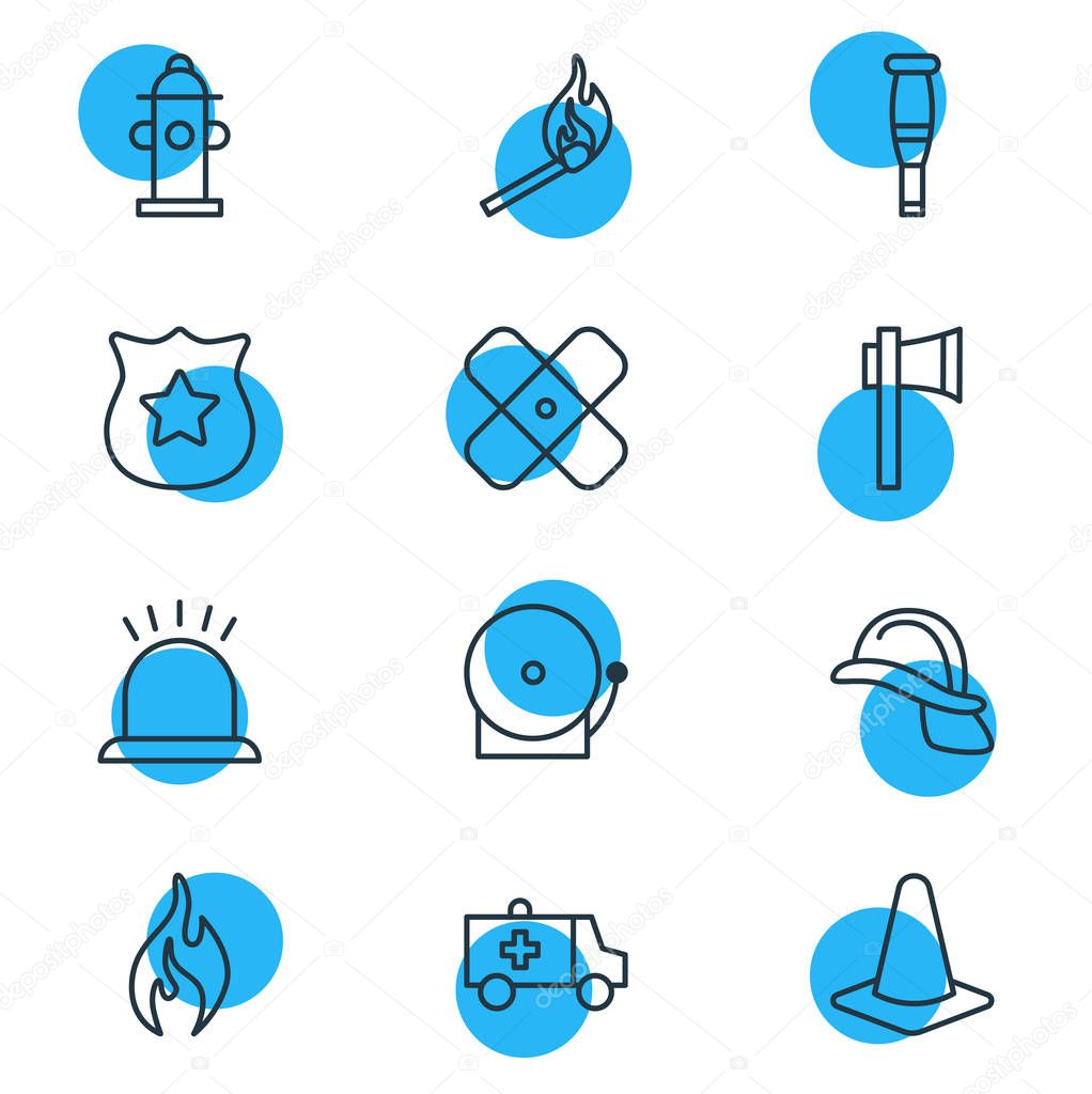 illustration of 12 emergency icons line style. Editable set of siren, fire, match and other icon elements.