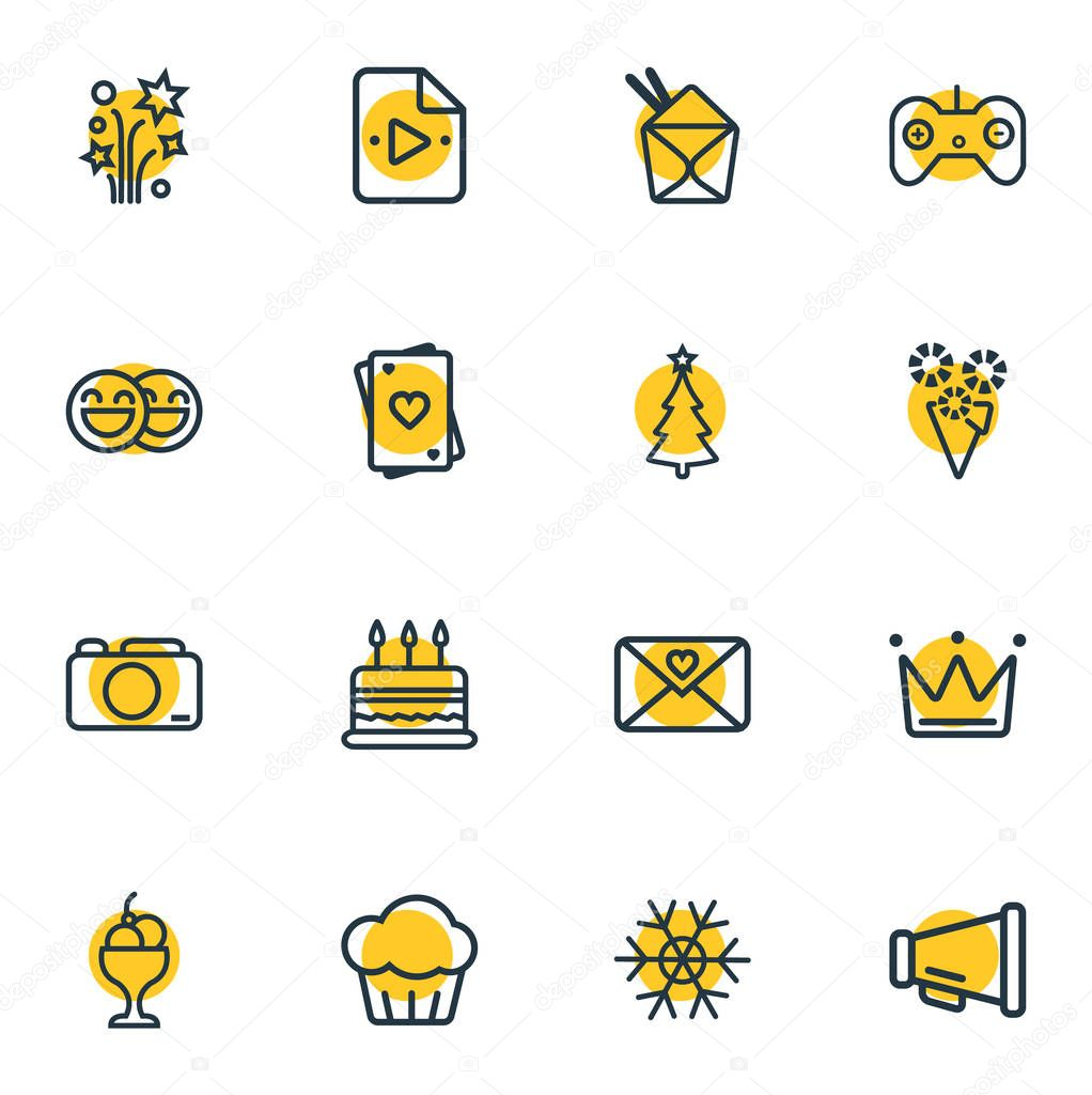 Vector illustration of 16 event icons line style. Editable set of petard, playlist, bullhorn and other icon elements.