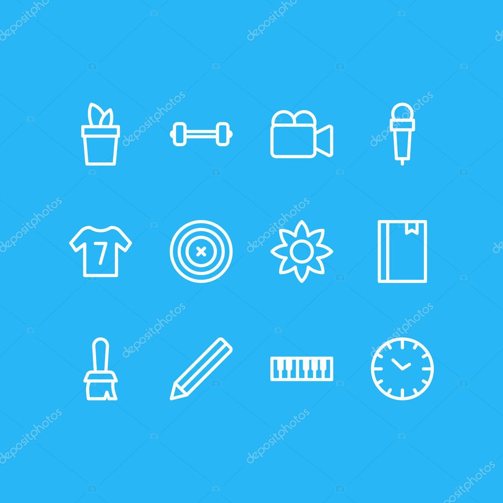 Vector illustration of 12 lifestyle icons line style. Editable set of mic, bookmark, dumbbell and other icon elements.
