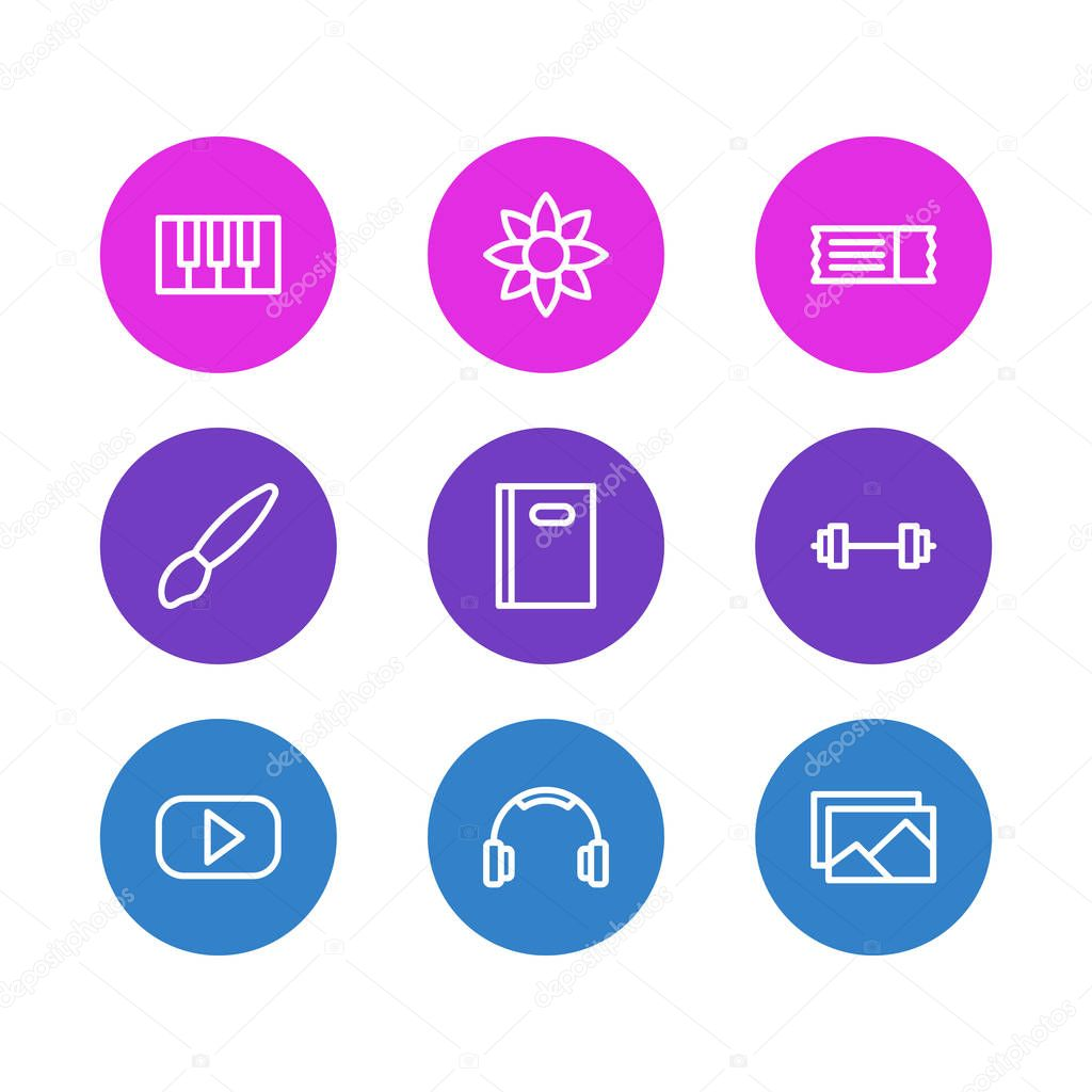 Vector illustration of 9 entertainment icons line style. Editable set of barbell, headphone, piano and other icon elements.