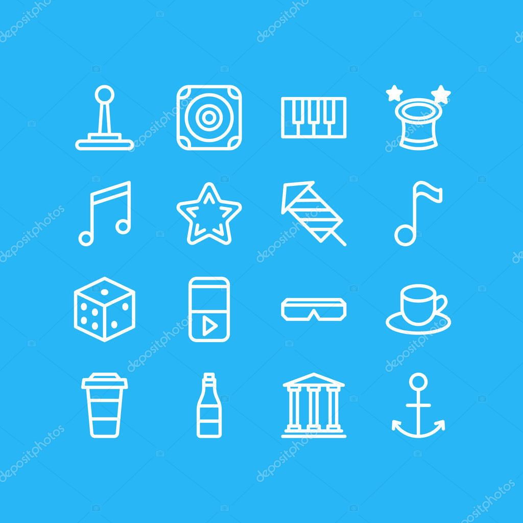 Vector illustration of 16 leisure icons line style. Editable set of firework, coffee to go, anchor and other icon elements.