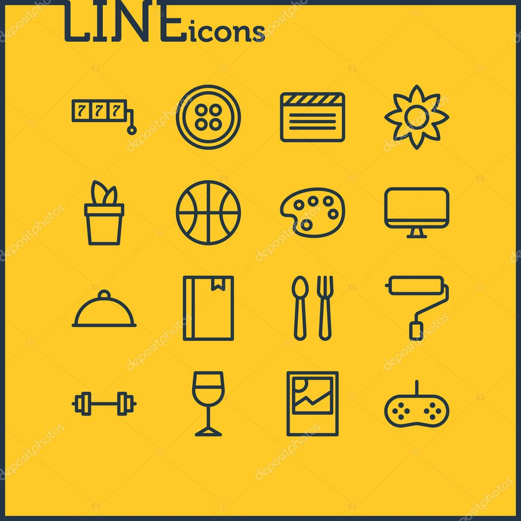 Vector illustration of 16 lifestyle icons line style. Editable set of wineglass, image, bookmark and other icon elements.