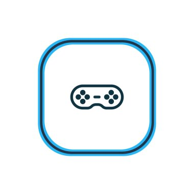 Vector illustration of game controller icon line. Beautiful media element also can be used as joystick icon element.