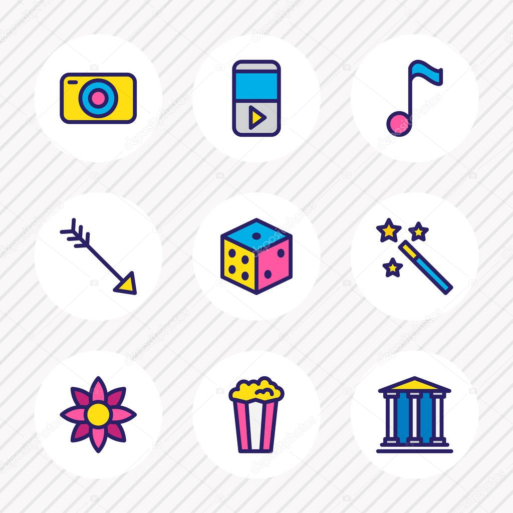 Vector illustration of 9 entertainment icons colored line. Editable set of magic wand, player, quaver icon elements.