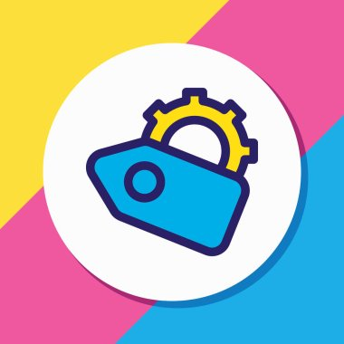 illustration of SEO tags icon colored line. Beautiful advertisement element also can be used as discount with gear icon element.