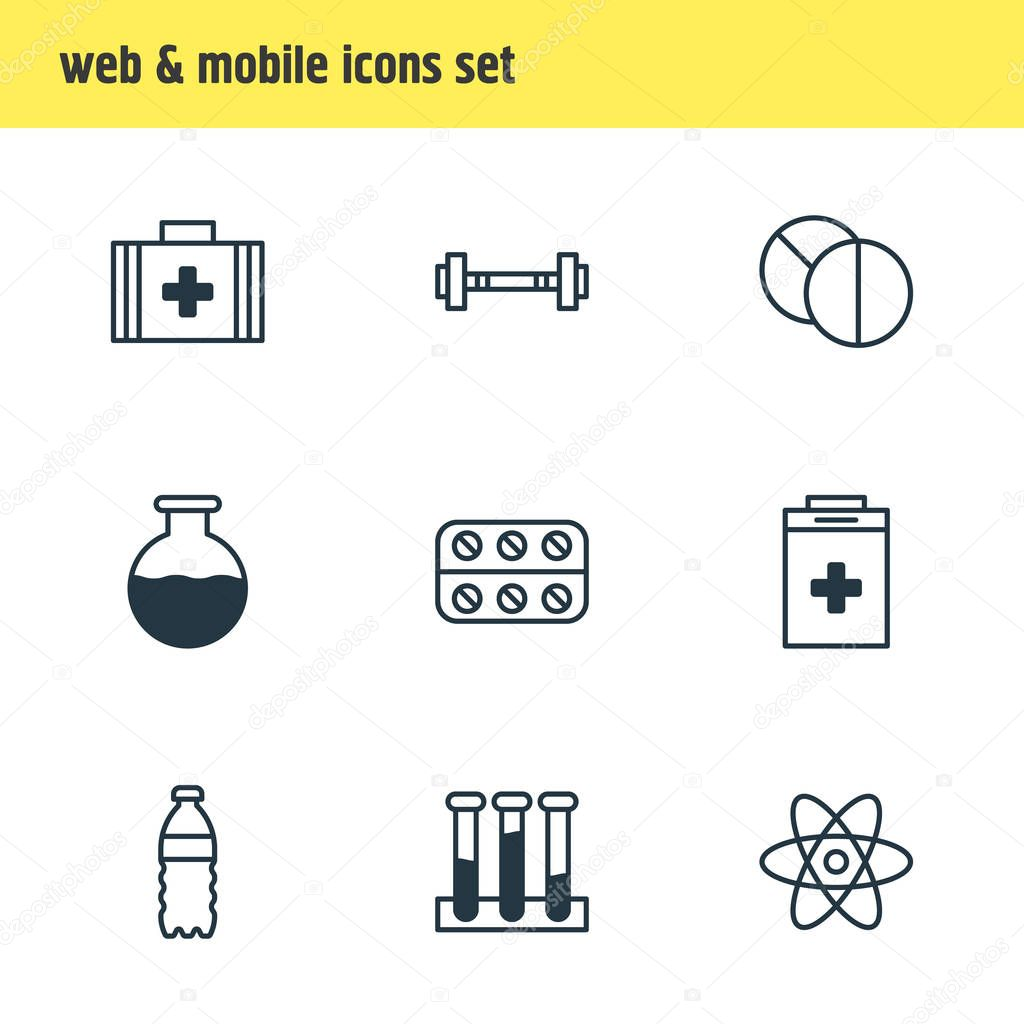 illustration of 9 medical icons line style. Editable set of medication, first aid box, barbell and other icon elements.