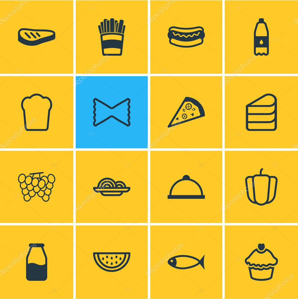 illustration of 16 meal icons line style. Editable set of french fries, grilled meat, cupcake and other icon elements.