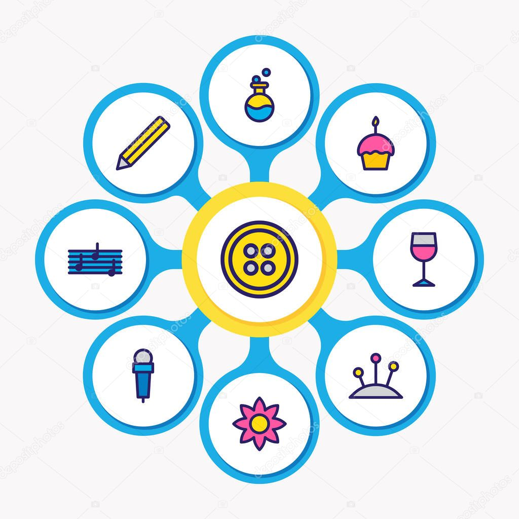 Vector illustration of 9 entertainment icons colored line. Editable set of wineglass, cupcake, flask and other icon elements.